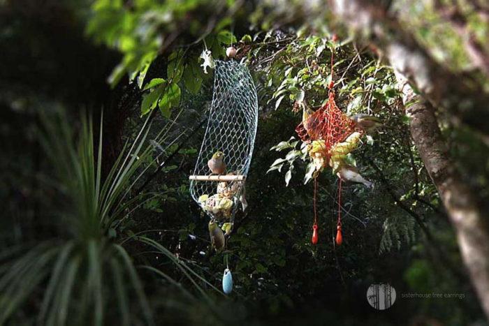Double Drop Tree Earring Bird Feeder